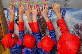 Spiderman is off the main sights of the world, reminding Earth Hour