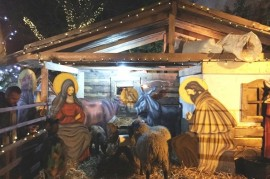 Blue door opened greatest living Nativity scene in Central Bohemia