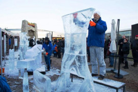 Festival of ice sculptures in the sign of happy sevens